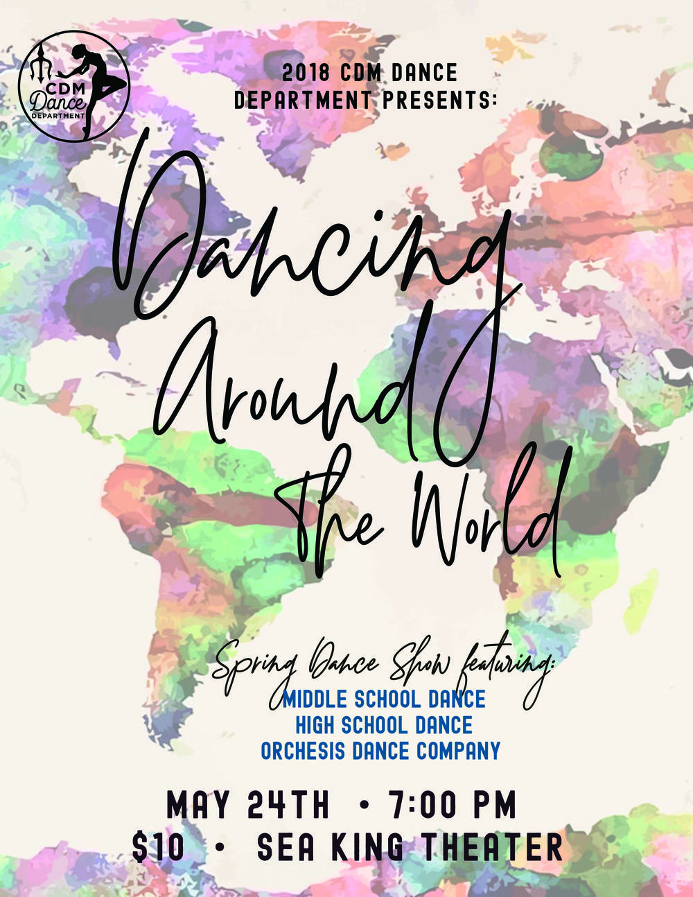 flyer for Corona del Mar spring dance show
