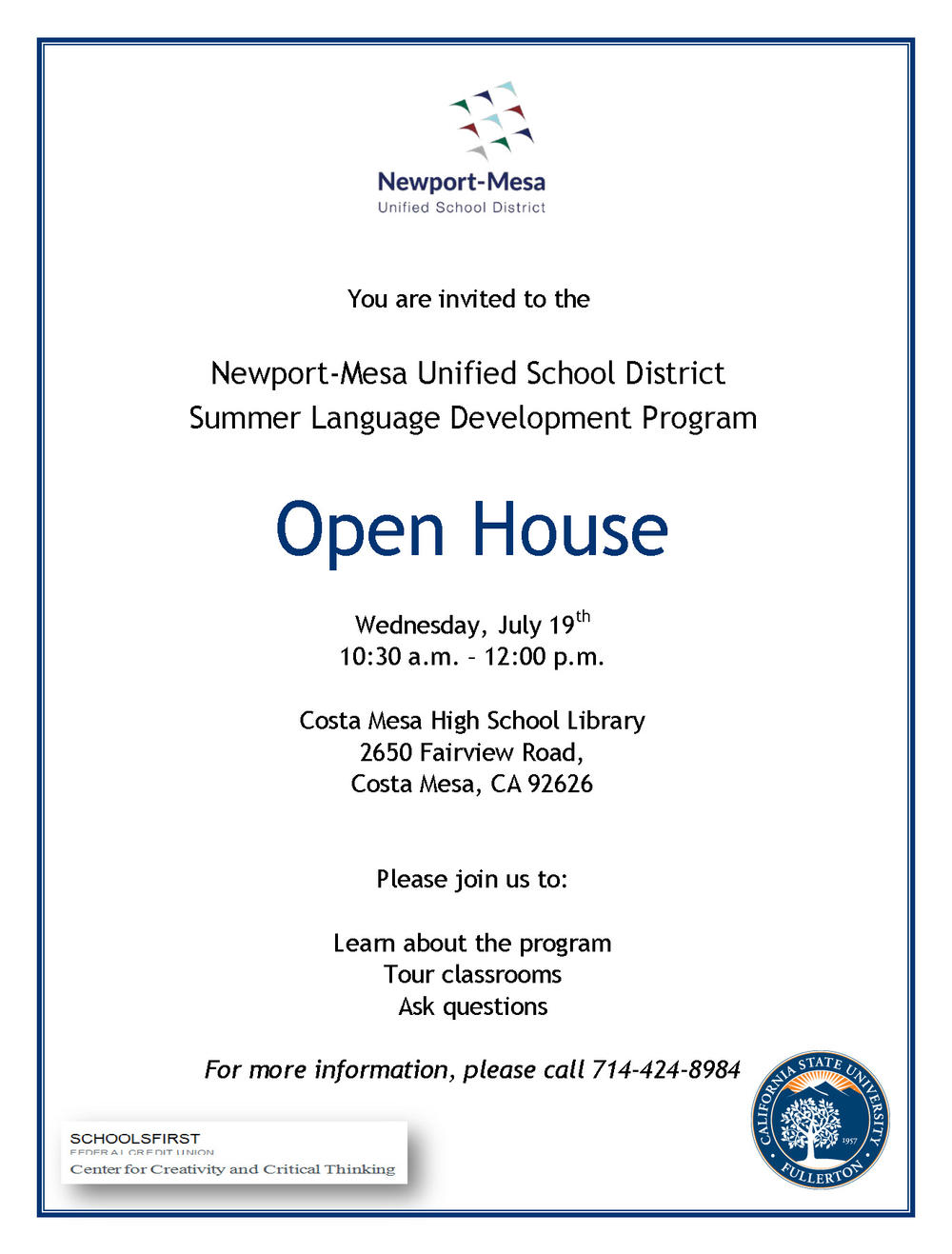 Summer Language Progam Open House Flyer