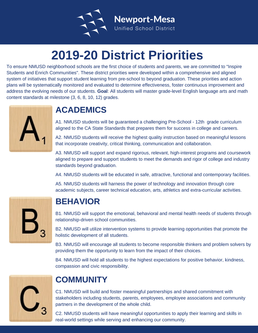 2019-20 District Priorities Flyer
