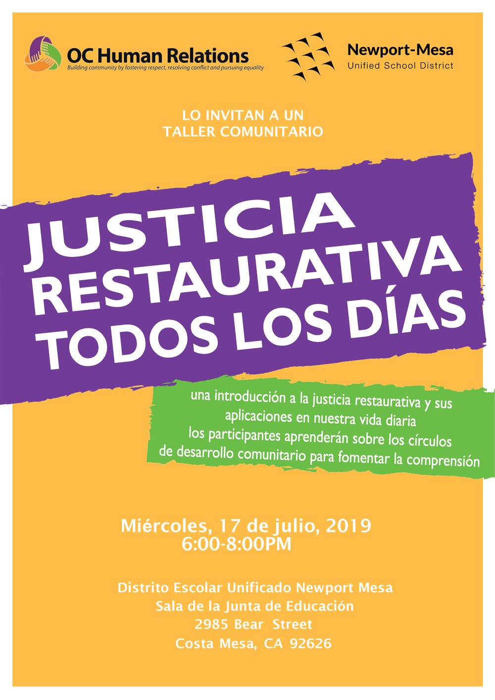Resorative Justing Community Workshop Flyer Spanish