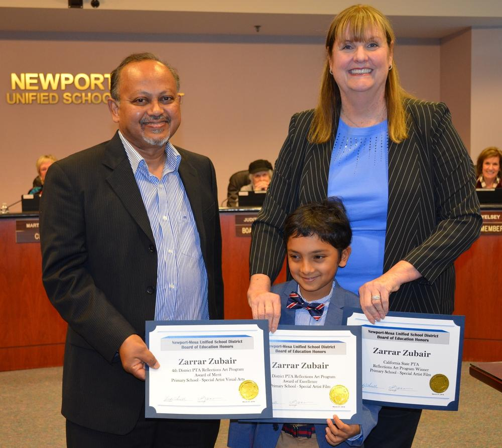 Adams Elementary Student, Zarrar Zubair, advances to national PTA Reflections Arts Program competition.