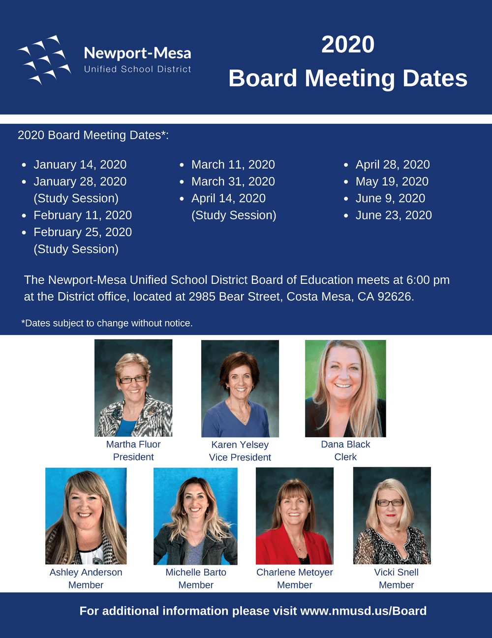 2020 Board Meeting Dates