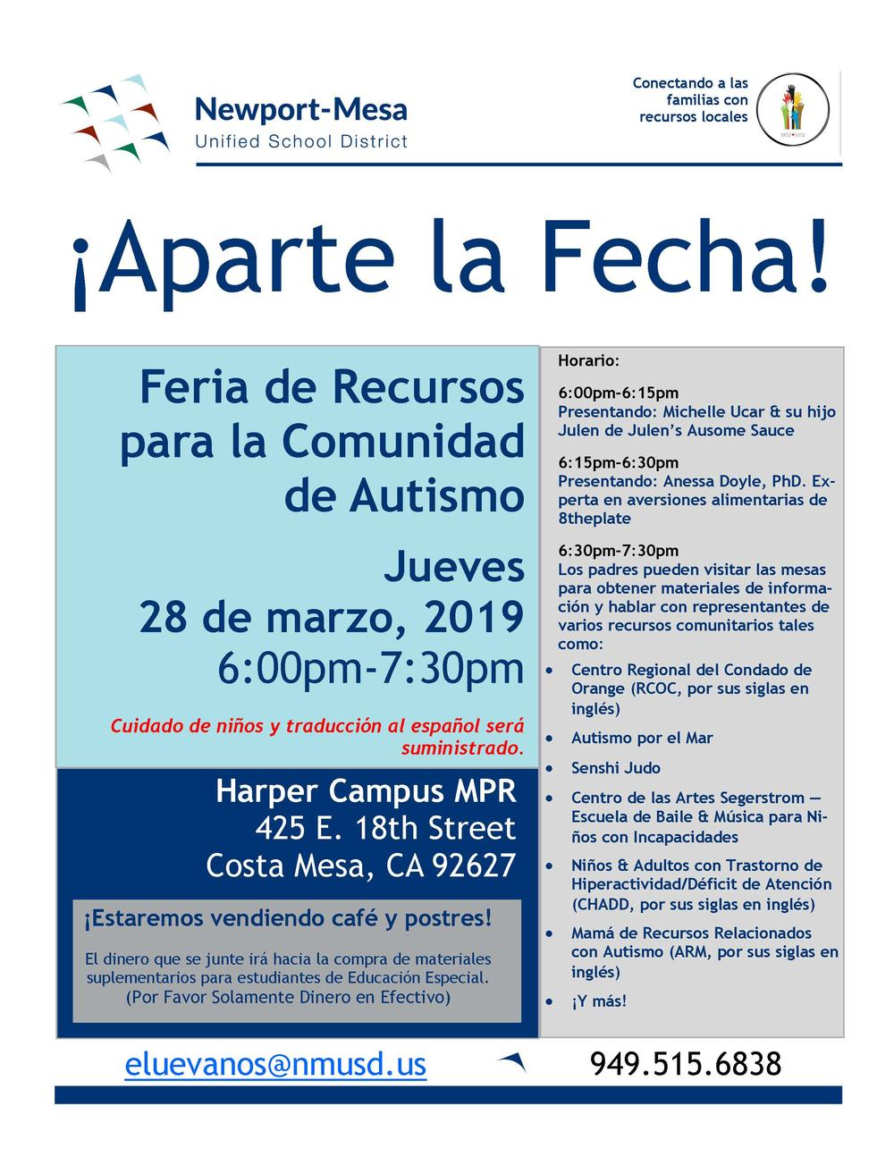Autism Community Resource Fair - Spanish