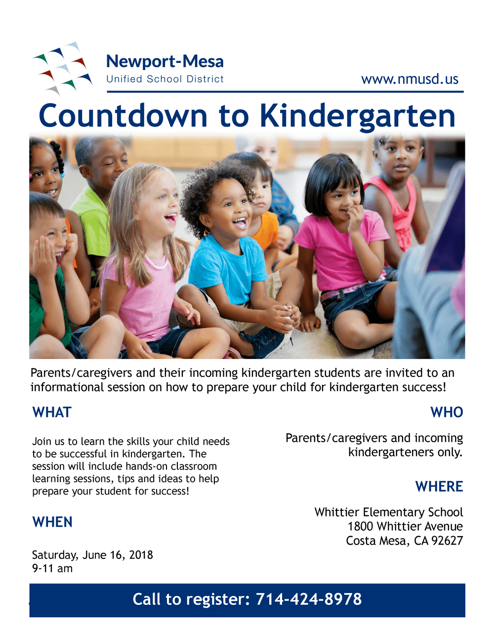 Countdown to Kindergarten Event Flyer