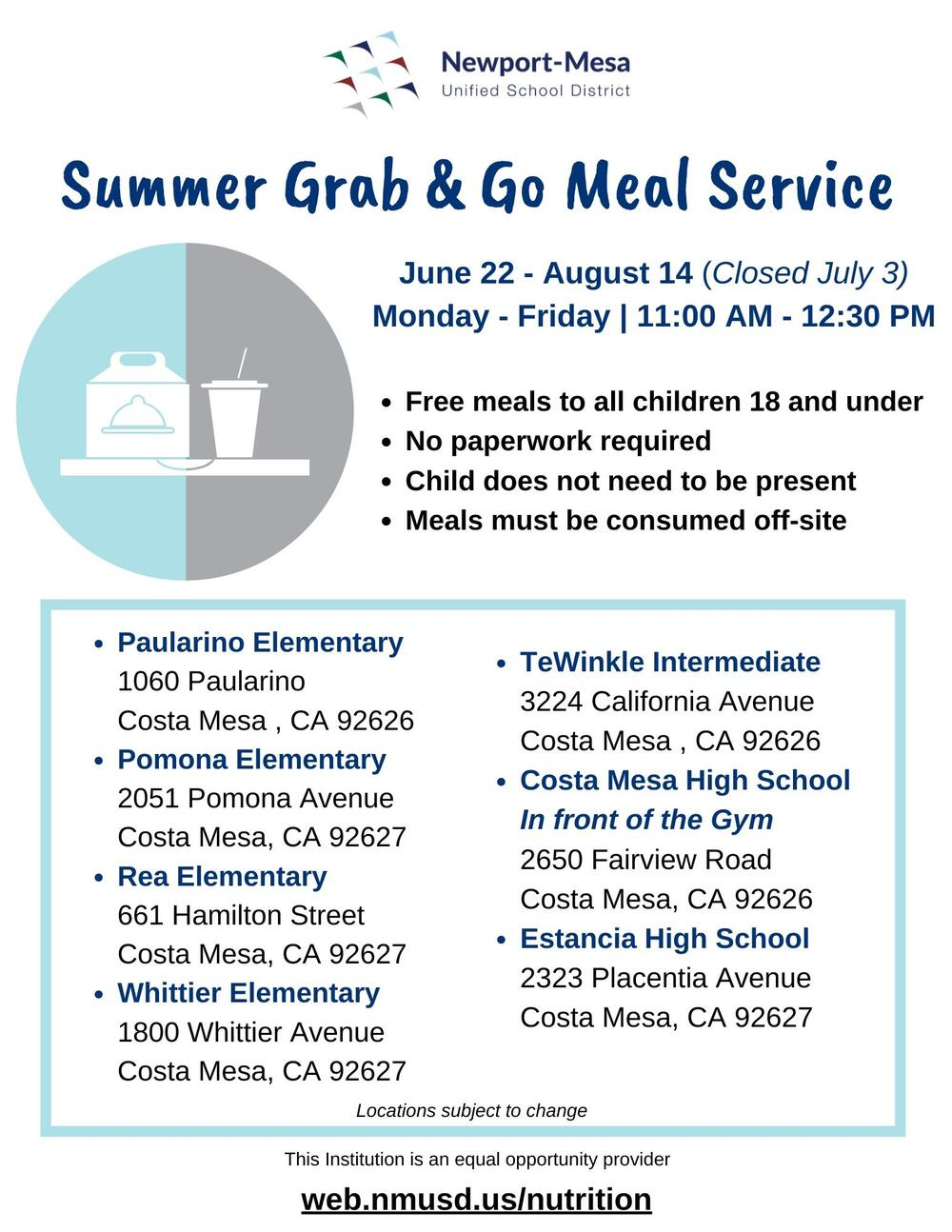 Summer grab   go meal service flyer