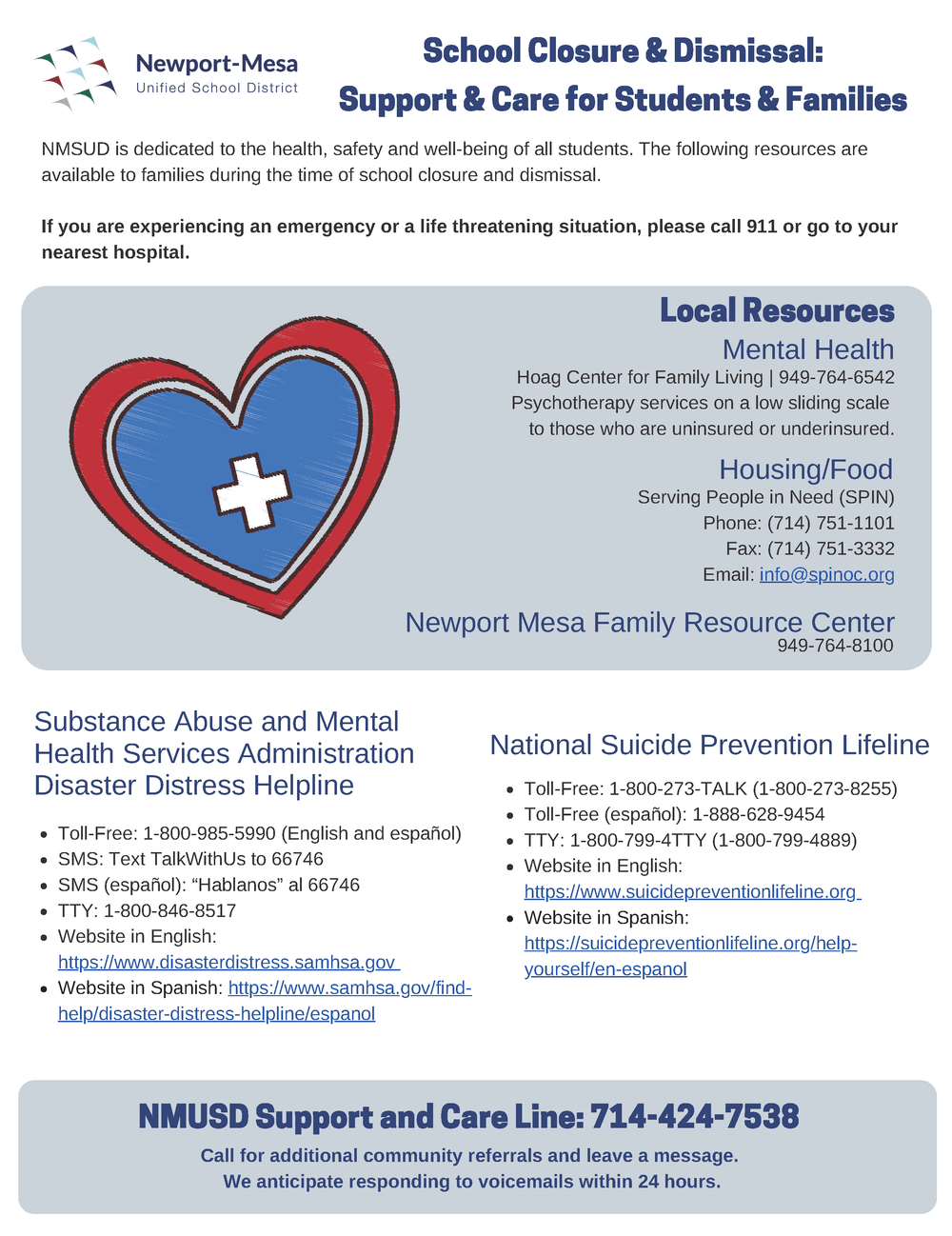 Support and Care Resources Flyer