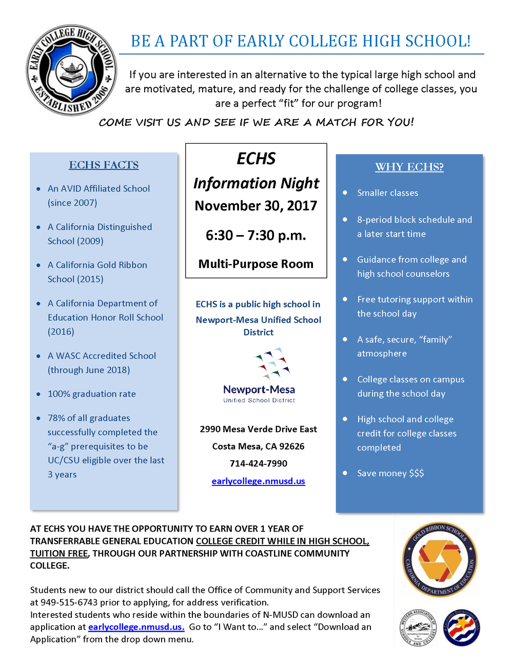 Early College High School Information Night Flyer