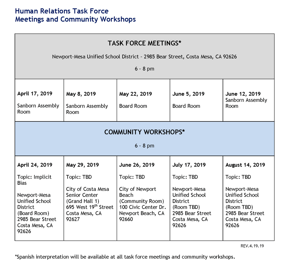 HRTF Meetings and Community Workshops Schedule