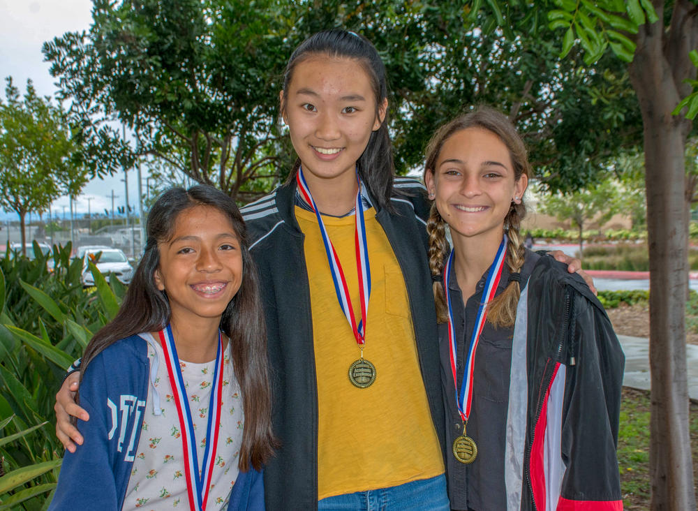 Evangelina Soto  left , Kaley Ouyang  middle , Veta Allena  right