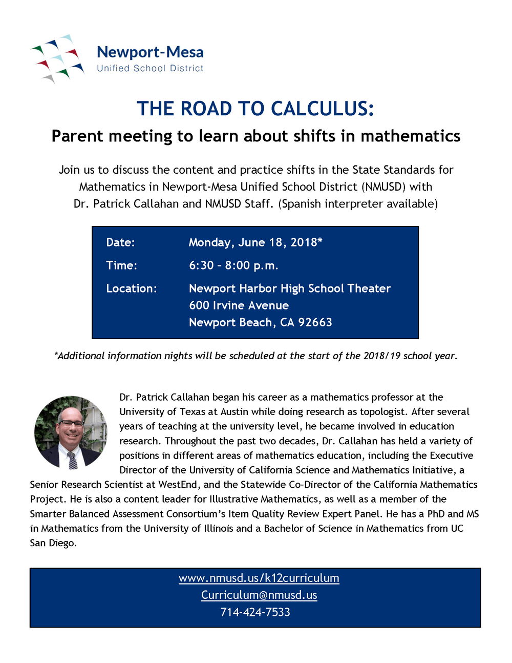The Road to Calculus Event Flyer