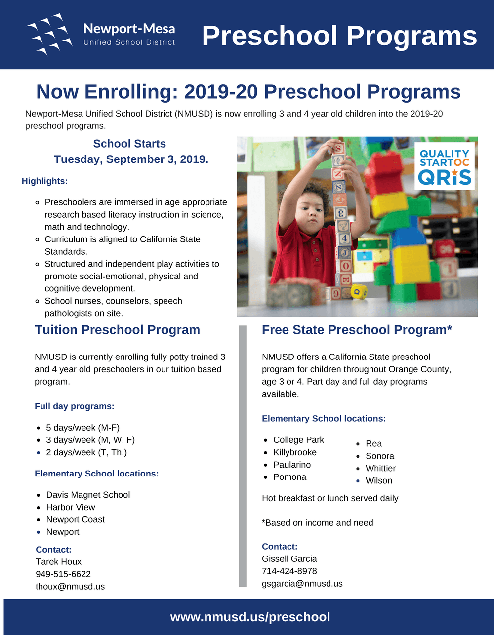 NMUSD Preschool Flyer