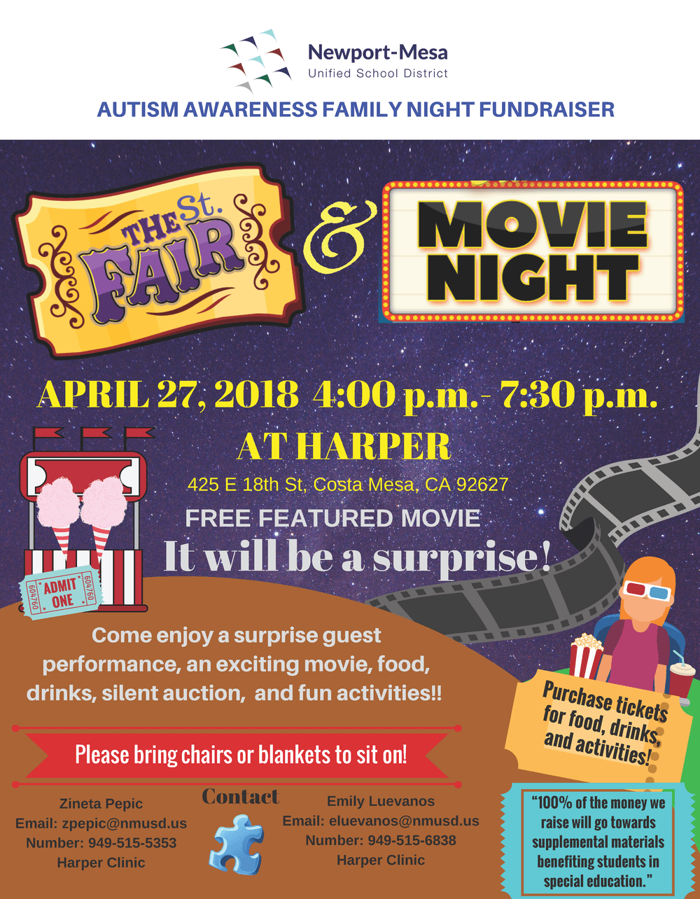 Autism Awarness Family Night Fundraiser Flyer