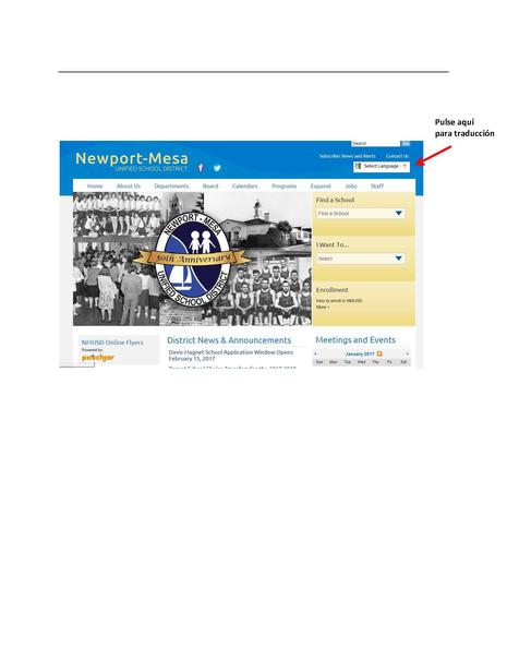 Sceenshot of NMUSD homepage